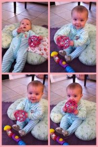 Baby A plays! And reaches for her real favorite toy: Mommy's iPhone.